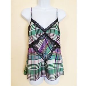 ZARA TRF COLLECTION GREEN PURPLE TOP SIZE S
